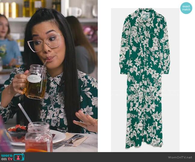 Printed Shirt Dress by Zara worn by Doris (Ali Wong) on American Housewife