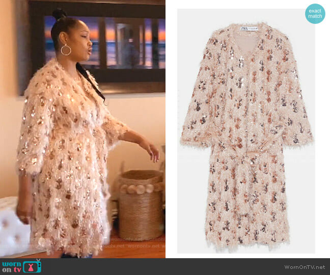 Sequin Coat by Zara worn by Garcelle Beauvais  on The Real Housewives of Beverly Hills