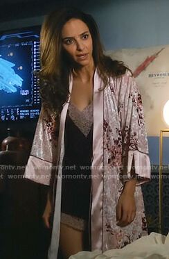 Zari's burgundy lace-trim camisole and floral robe on Legends of Tomorrow
