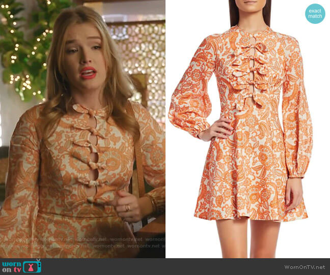 Peggy Scalloped Mini Dress by Zimmermann worn by Kirby Anders (Maddison Brown) on Dynasty