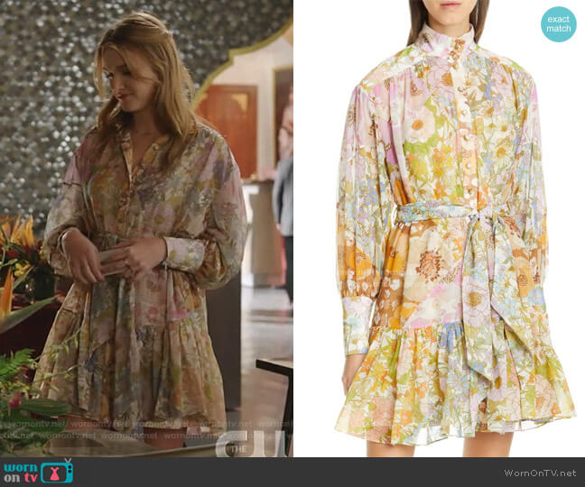 Super Eight Floral Print Long Sleeve Lantern Minidress by Zimmermann worn by Kirby Anders (Maddison Brown) on Dynasty