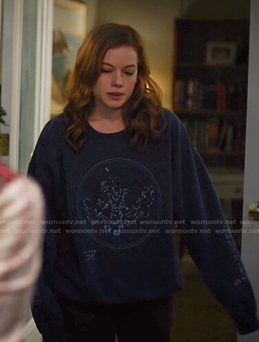 Zoey's navy constellation sweatshirt on Zoeys Extraordinary Playlist