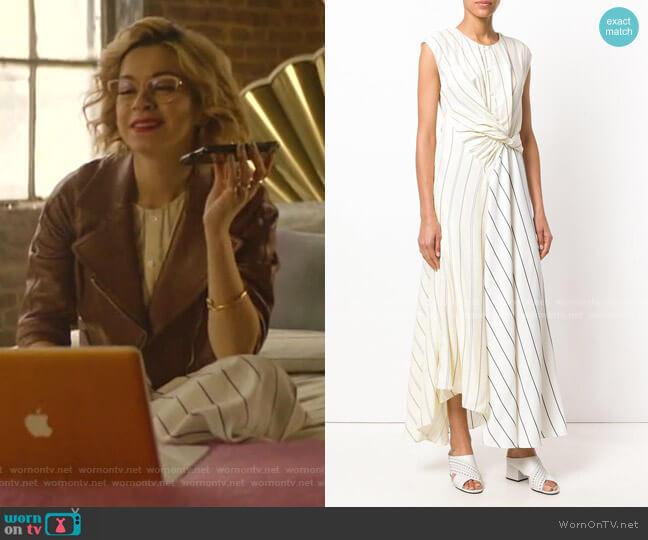 Twist-Front Striped Poplin Maxi Dress by 3.1 Phillip Lim worn by Pepper Smith (Julia Chan) on Katy Keene