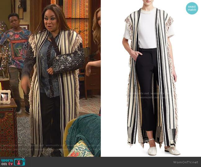 Berber Fringed Long Knit Vest by 3.1 Phillip Lim worn by Raven Baxter (Raven-Symoné) on Ravens Home