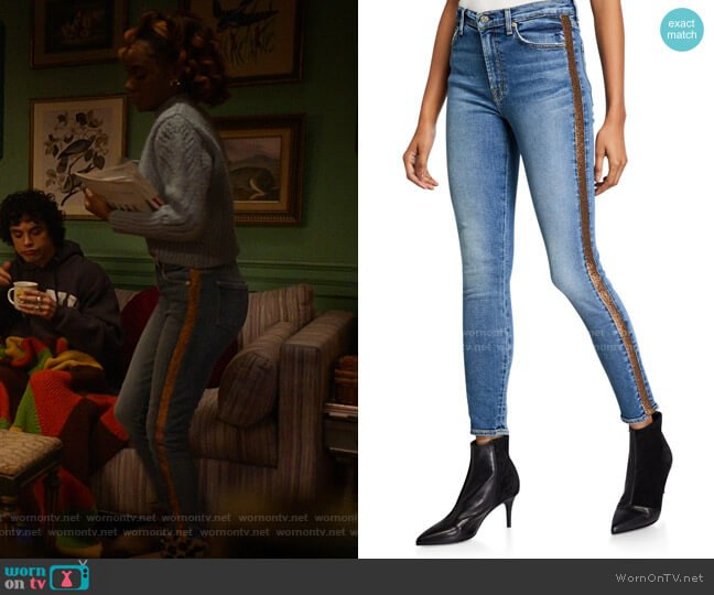 High-Waist Ankle Skinny Jeans with Metallic Stripes by 7 for all mankind worn by Josie McCoy (Ashleigh Murray) on Katy Keene