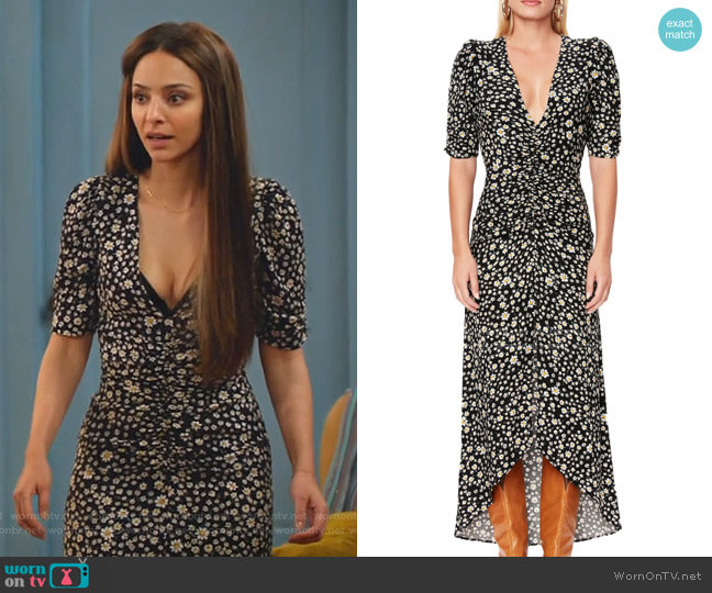 Logan Daisy Ditsy Plunge Neck Dress by AFRM worn by Zari Tomaz (Tala Ashe) on Legends of Tomorrow