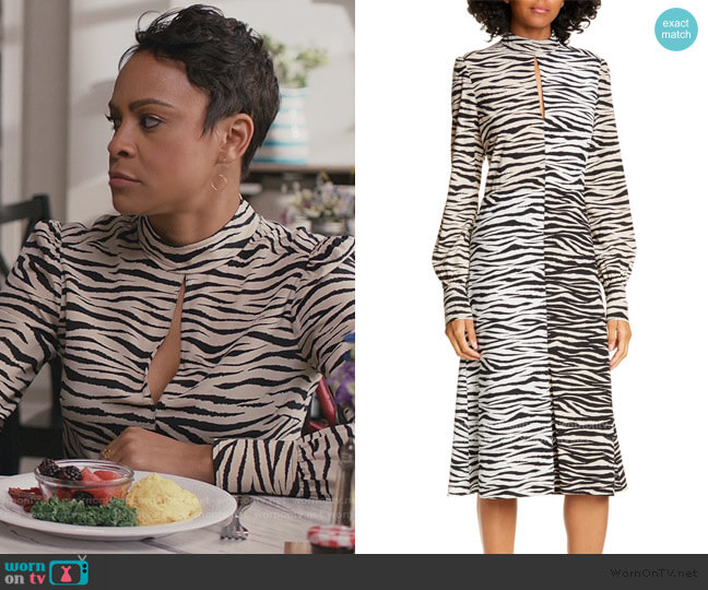 Kennedy Long Sleeve Tiger Print Dress by A.L.C. worn by Angela (Carly Hughes