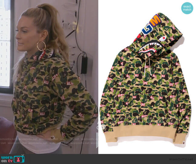 Camo Shark Alife Hoodie by Bape worn by Leah McSweeney  on The Real Housewives of New York City