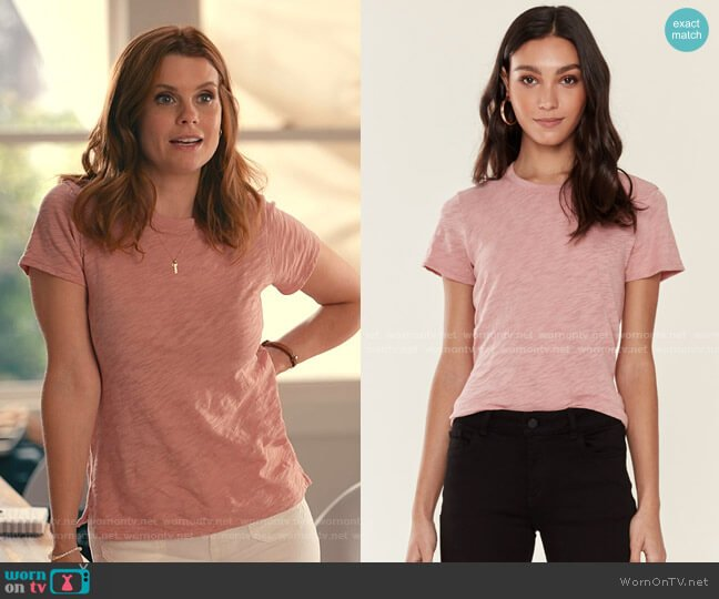 Schoolboy Crewneck Tee by ATM Anthony Thomas Melillo worn by Maddie Townsend (JoAnna Garcia Swisher) on Sweet Magnolias