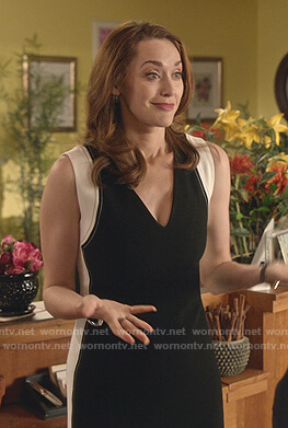 Abigail's black and white colorblock v-neck dress on Good Witch