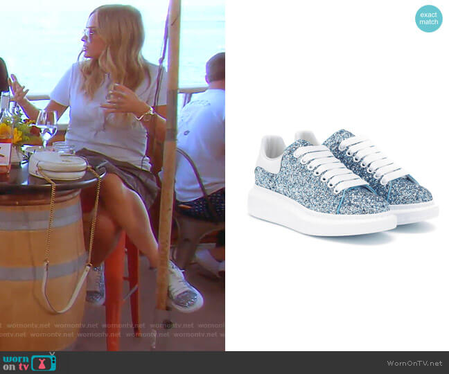 Oversized Gillter Sneakers in Blue by Alexander McQueen  worn by Teddi Mellencamp Arroyave  on The Real Housewives of Beverly Hills