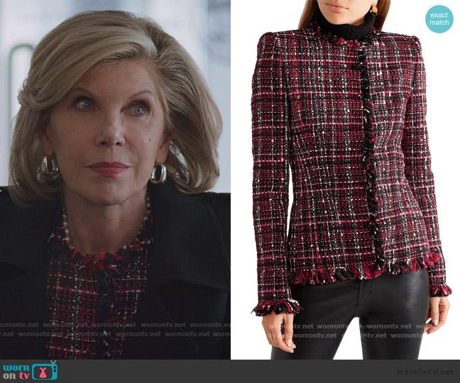 Frayed tweed blazer by Alexander Mcqueen worn by Diane Lockhart (Christine Baranski) on The Good Fight