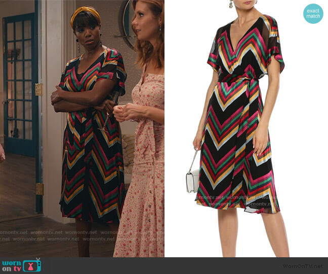 Lexa wrap-effect striped burnout satin dress by Alice + Olivia worn by Helen Decatur (Heather Headley) on Sweet Magnolias