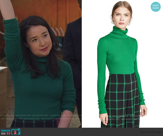 Roberta Long Sleeve Rib Turtleneck worn by Marissa Gold (Sarah Steele) on The Good Fight