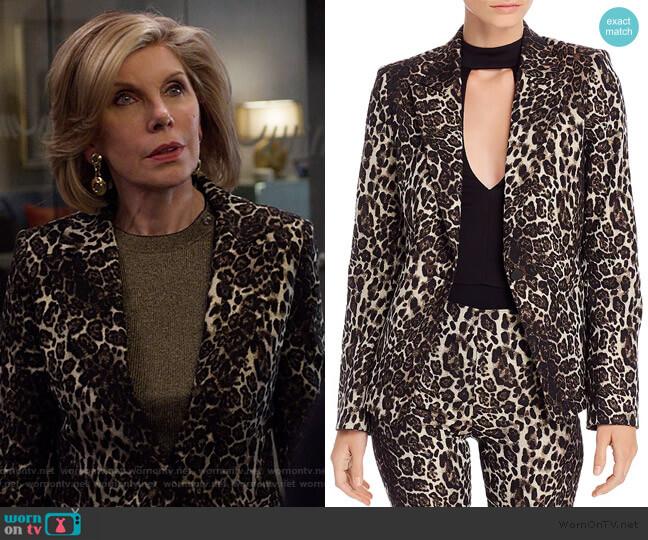 Toby Leopard Jacquard Blazer by Alice + Olivia worn by Diane Lockhart (Christine Baranski) on The Good Fight