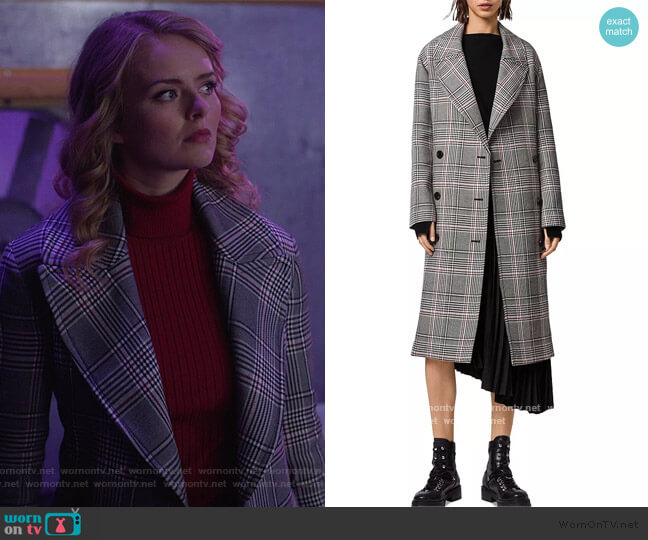 Tyla Check Trench Coat by All Saints worn by Eve Teschmacher (Andrea Brooks) on Supergirl