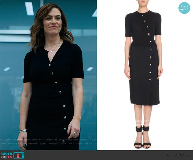 Short-Sleeve Button-Front Cady-Knit Top Fitted Midi Dress by Altuzarra worn by Wendy Rhoades (Maggie Siff) on Billions