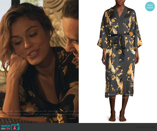 3/4 Sleeve Womens Mid Length Satin Robe by Ambrielle worn by Noa Hamilton (Nathalie Kelley) on The Baker & the Beauty