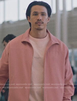 Andrew's pink jacket and tee on Insecure