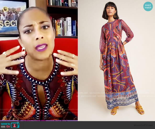 Maren Embroidered Maxi Dress by Anthropologie worn by Amanda Seales  on The Real