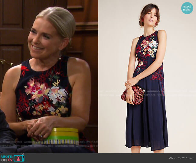 Tanzine Embroidered Midi Dress by Anthropologie worn by Jennifer Horton (Melissa Reeves) on Days of our Lives