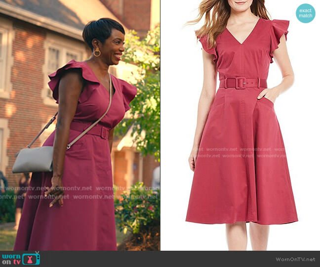 Tess V-Neck Flutter Sleeve Belted A-Line Midi Dress by Antonio Melani worn by Helen Decatur (Heather Headley) on Sweet Magnolias