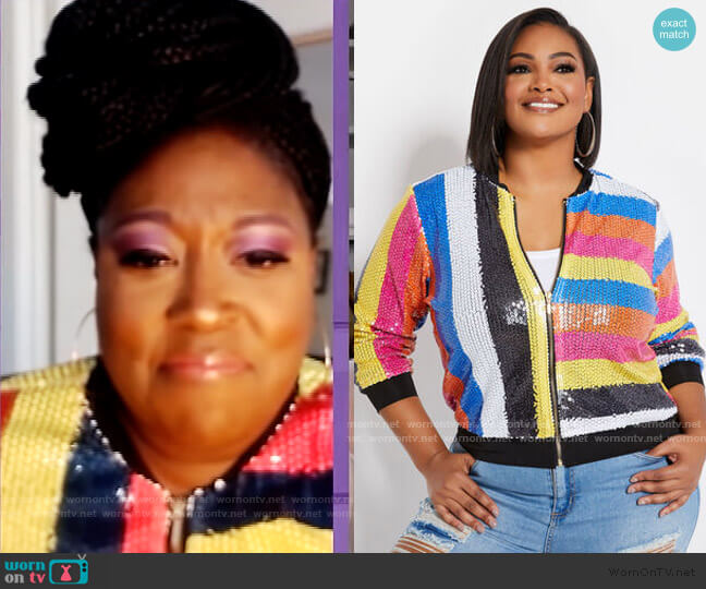 Sequined Bomber Jacket by Ashley Stewart worn by Loni Love  on The Real