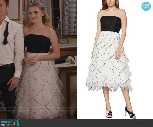 Strapless Ruffled Dress by Bcbgmaxazria worn by Taylor Otto (Meg Donnelly) on American Housewife