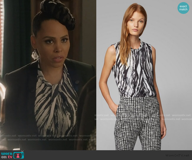 Sleeveless top in zebra-print Italian twill by BOSS worn by Tegan Price (Amirah Vann) on HTGAWM