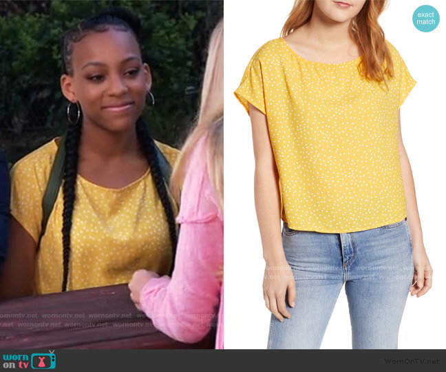 Polka Dot Dolman Sleeve Top by BP. worn by Trina (Sydney Mikayla) on General Hospital