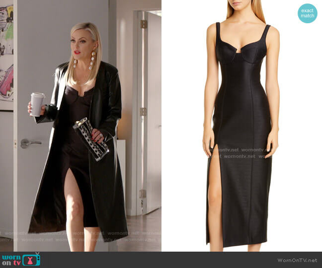 Bustier Midi Column Dress by Brandon Maxwell worn by Alexis Carrington (Elaine Hendrix) on Dynasty