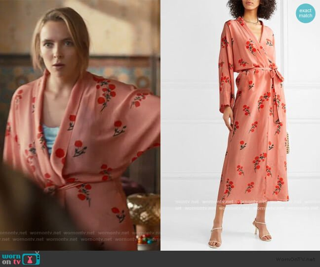 Peignoir Floral-Print Silk Robe by Bernadette worn by Villanelle (Jodie Comer) on Killing Eve