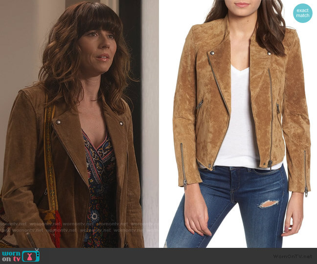 Suede Moto Jacket by BlankNYC worn by Judy Hale (Linda Cardellini) on Dead to Me