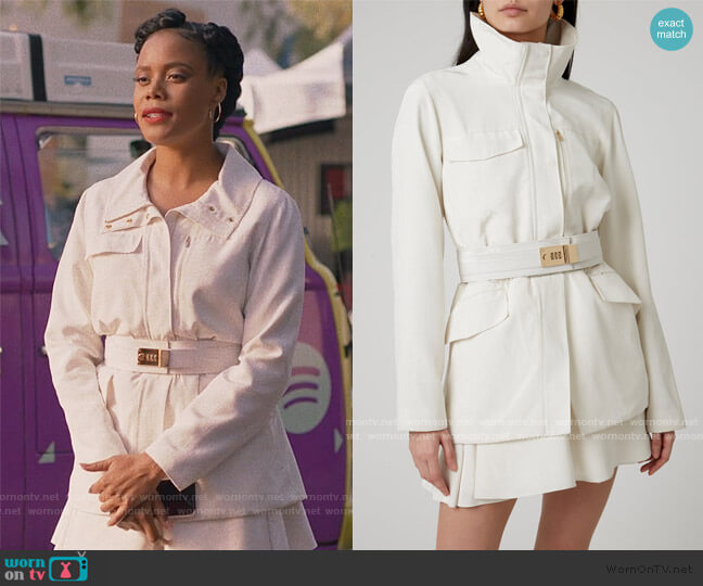 Parka Faille Mini Dress and Belt by Brandon Maxwell worn by Condola (Christina Elmore) on Insecure