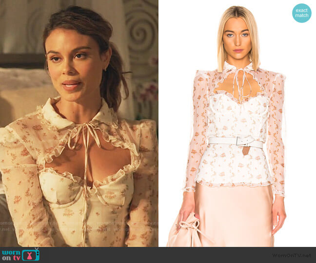 Floral Bustier Long Sleeve Top by Brock Collection worn by Noa Hamilton (Nathalie Kelley) on The Baker & the Beauty
