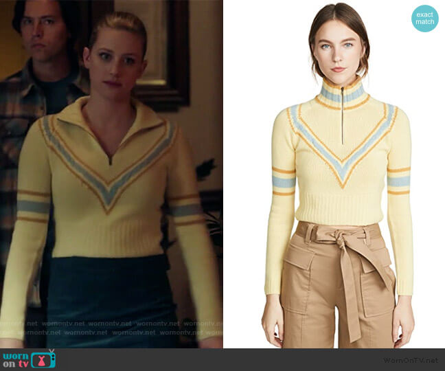 Cropped Zip Cashmere Pullover by By any Other Name worn by Betty Cooper (Lili Reinhart) on Riverdale