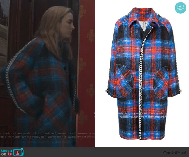 Chain Trim Coat by Charles Jeffrey Loverboy worn by Villanelle (Jodie Comer) on Killing Eve