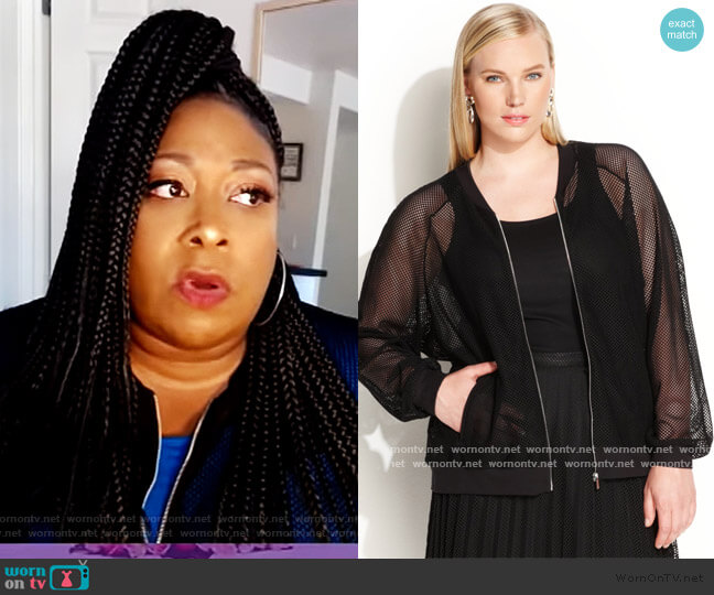 Mesh Bomber Jacket by Calvin Klein worn by Loni Love  on The Real