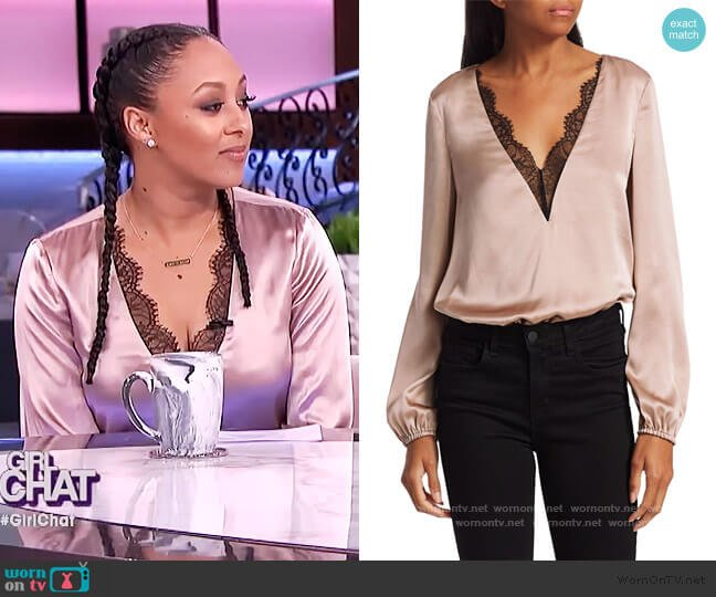 The Maddox Lace-Trim Bodysuit by Cami NYC worn by Tamera Mowry  on The Real