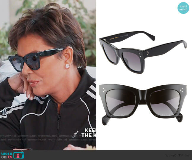 50mm Polarized Square Sunglasses by Celine worn by Kris Jenner  on Keeping Up with the Kardashians