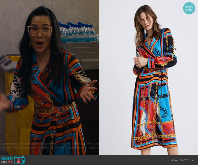 Chain Print Dress by Zara worn by Doris (Ali Wong) on American Housewife