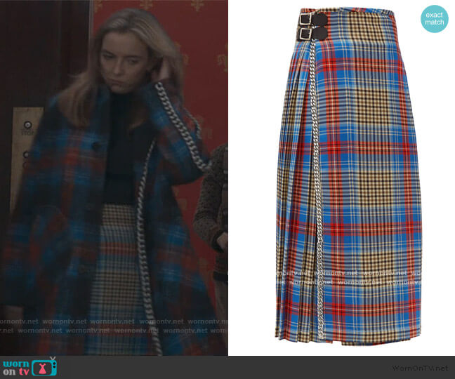 Loverboy pleated wool-tartan kilt skirt by Charles Jeffrey Loverboy worn by Villanelle (Jodie Comer) on Killing Eve