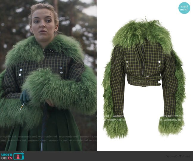 Aviator Jacket by Charlotte Knowles worn by Villanelle (Jodie Comer) on Killing Eve