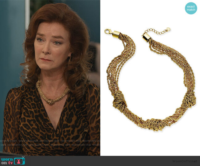 Gold-Tone Multi-Chain Knotted Collar Necklace by Charter Club worn by Lorna Harding (Valerie Mahaffey) on Dead to Me