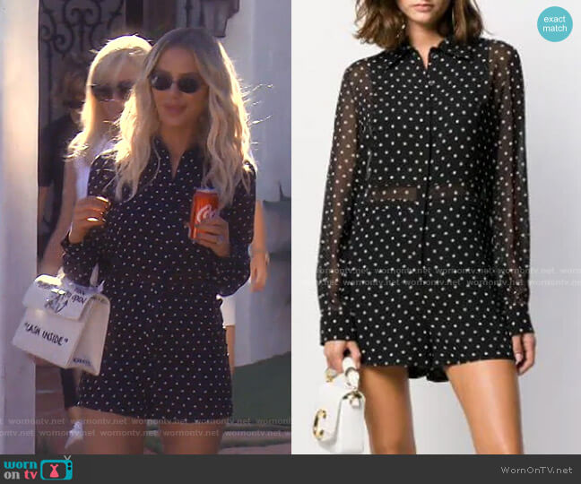 Polka Dot Silk Playsuit by Christian Dior worn by Dorit Kemsley  on The Real Housewives of Beverly Hills