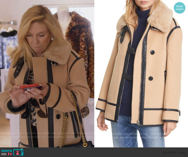 Wool Blend Moto Coat with Faux Fur Trim by Club Monaco worn by Ramona Singer  on The Real Housewives of New York City