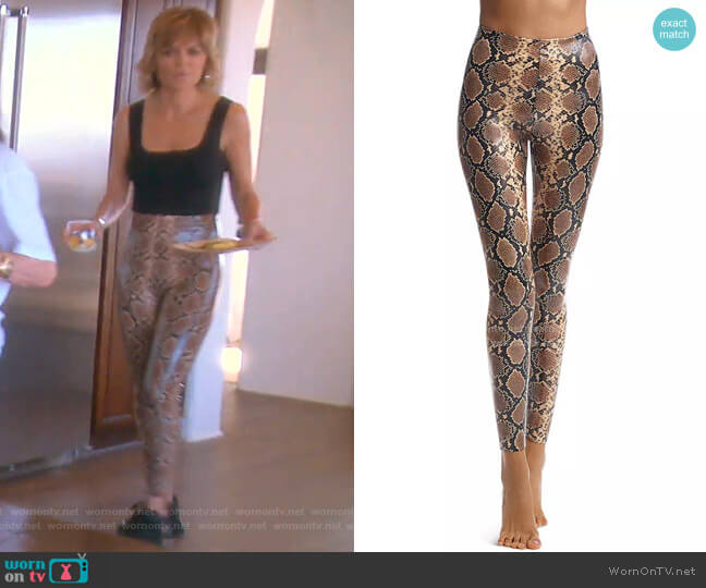 Faux Leather Animal Print Leggings by Commando worn by Lisa Rinna  on The Real Housewives of Beverly Hills