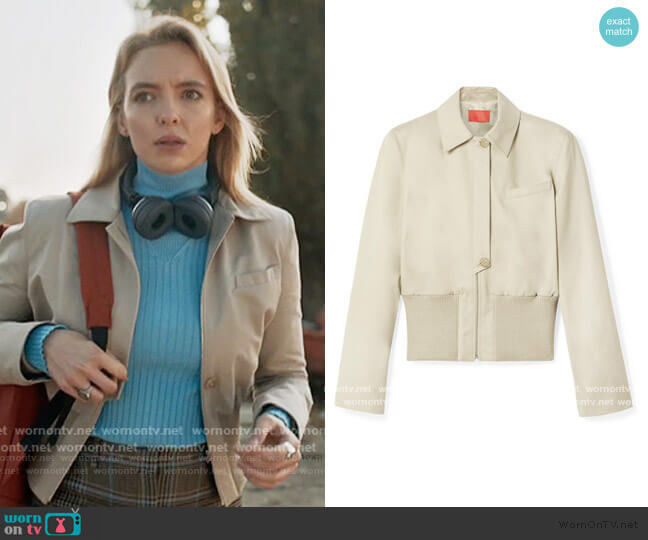 Cotton-gabardine Jacket In Beige by Commission worn by Villanelle (Jodie Comer) on Killing Eve