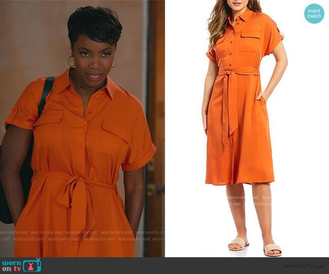 Ashley Tie Waist Twill Midi Shirt Dress by Cremieux worn by Helen Decatur (Heather Headley) on Sweet Magnolias