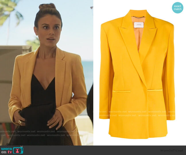 boxy fit structured shoulder blazer by Dorothee Schumacher worn by Noa Hamilton (Nathalie Kelley) on The Baker & the Beauty